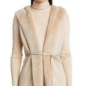 Lafayette 148 Wool Cashmere Fur Trim Hooded Vest